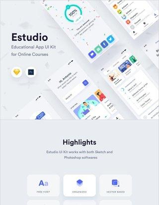 ESTUDIO在线课程教育移动应用UI套件,ESTUDIO移动应用UI套件 Estudio Mobile App UI Kit