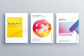 杂志封面设计几何渐变不规则海报模板高清背景AI矢量素材