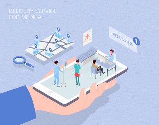 未来医疗服务场景扁平2.5D插画网页UI插图APP设计AI矢量设计素材