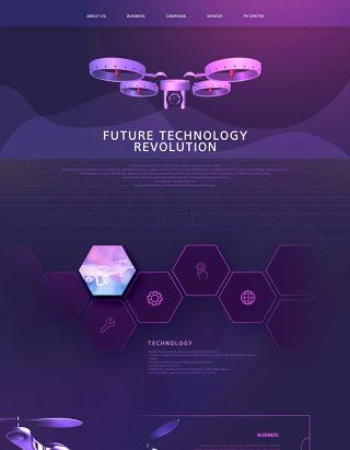 未来科技感产品VR人工智能AI网站网页模板PSD设计素材