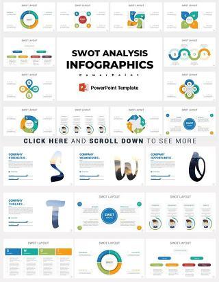 24款SWOT矩阵设计PPT信息图分析矢量元素