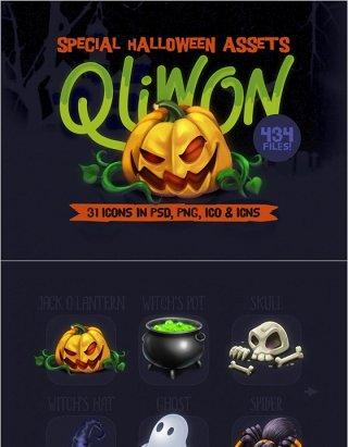 31款QLIWON万圣节图标集-PSD,PNG,ICO和ICNS格式