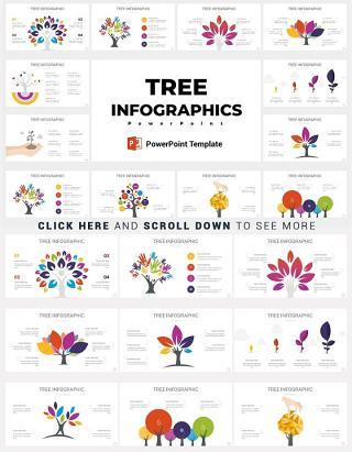 12款树状PPT信息图形矢量设计