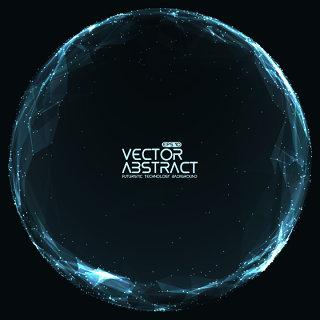 科技粒子圆形图形矢量素材-6