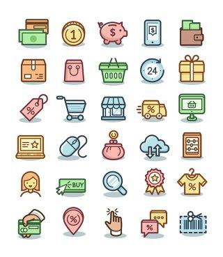 完整平面电子商务矢量UI素材icon