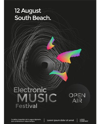 渐变几何流体蒸汽波抽象H5电子音乐节海报模板AI矢量声波素材