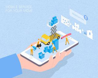 未来搬家服务场景扁平2.5D插画网页UI插图APP设计AI矢量设计素材
