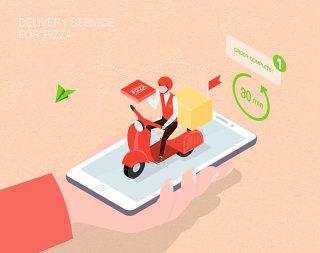 未来配送披萨服务生活场景扁平2.5D插画网页UI插图APP设计AI矢量设计素材