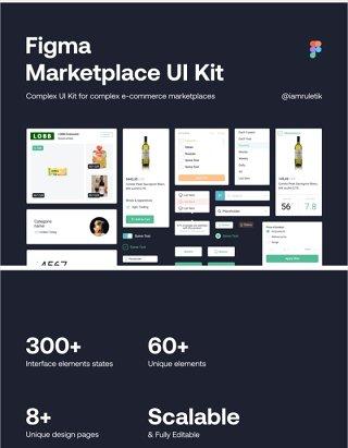 FIGMA卖场UI套件电子商务产品,FIGMA卖场UI工具包 Figma Marketplace UI Kit