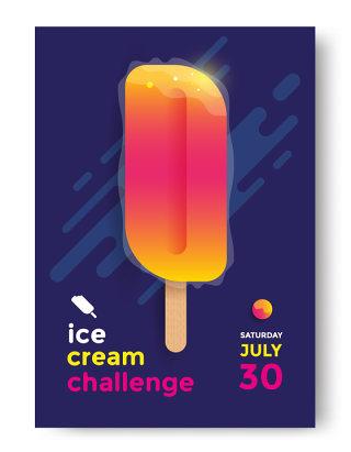 几何流体蒸汽波抽象封面H5冰激凌挑战者海报模板AI矢量素材