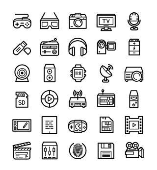 黑白技术与多媒体线条线性矢量图标UI素材icon