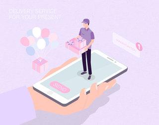 未来送礼物服务生活场景扁平2.5D插画网页UI插图APP设计AI矢量设计素材