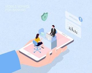 未来线上银行场景扁平2.5D插画网页UI插图APP设计AI矢量设计素材