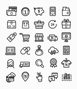 电子商务线条线性矢量图标UI素材icon
