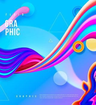 创意蓝色渐变背景蒸汽波元素PSD海报模板平面设计素材-18