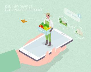 未来配送农产品场景扁平2.5D插画网页UI插图APP设计AI矢量设计素材