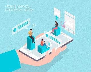 未来社交媒体移动服务场景扁平2.5D插画网页UI插图APP设计AI矢量设计素材