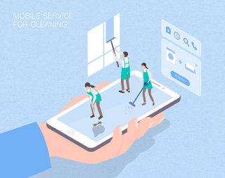 未来保洁清洁移动服务场景扁平2.5D插画网页UI插图APP设计AI矢量设计素材