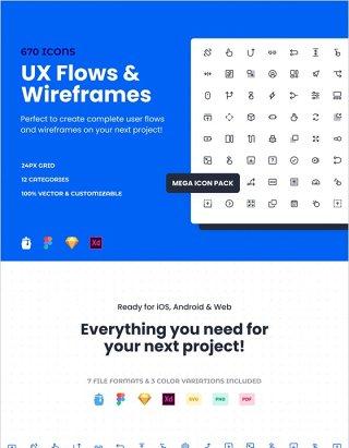 670个UX流和线框图标素描,FIGMA和Adobe XD,UX流和线框兆丰图标包 UX Flows &
