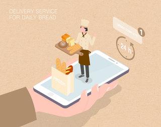 未来面包店生活场景扁平2.5D插画网页UI插图APP设计AI矢量设计素材