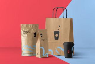 平面VI设计提案、包装盒、瓶子、纸袋智能贴图样机场景模板PSD素材5