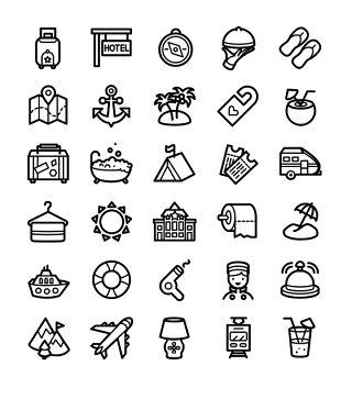 度假和酒店线条线性矢量图标UI素材icon