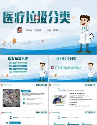 简洁医疗垃圾分类的处理PPT模板