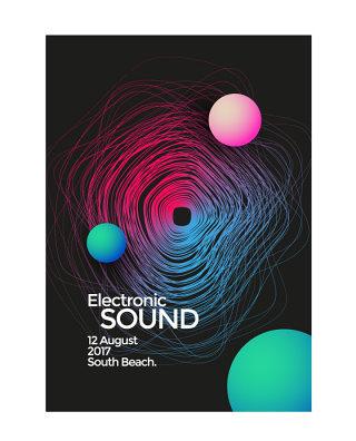 彩色声波线条几何流体渐变蒸汽波封面H5电子音乐节海报AI矢量素材