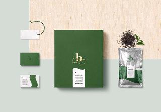 平面VI设计提案、包装盒、瓶子、纸袋智能贴图样机淡雅场景模板PSD素材2