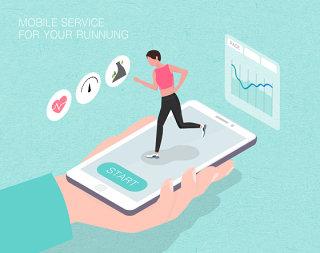 未来线上跑步场景扁平2.5D插画网页UI插图APP设计AI矢量设计素材