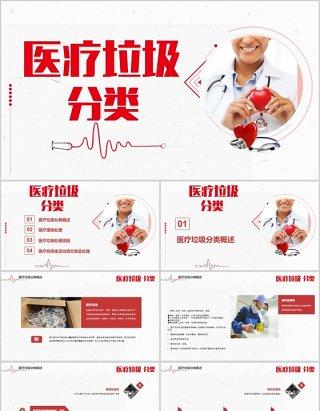 红色医疗垃圾分类PPT培训模板