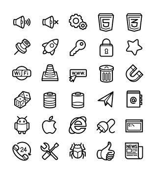 网络计算机线条线性矢量图标UI素材icon