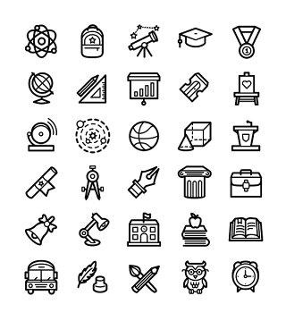 教育类线条线性矢量图标UI素材icon