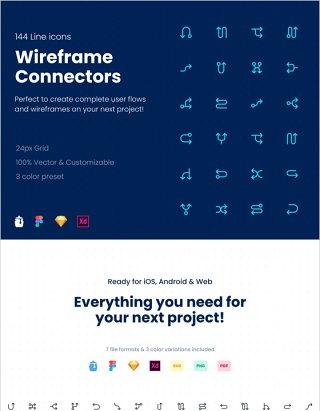 144个线框图标包 FIGMA和Adobe XD,Wireframe Connectors Icon Pack 144 Line icons