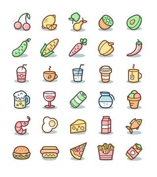 完整食物和饮料图标矢量素材UI互联网ICON