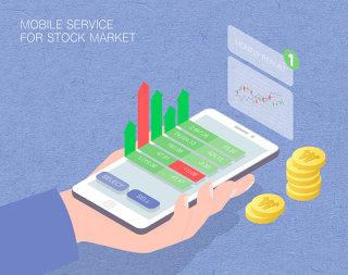 未来股票市场场景扁平2.5D插画网页UI插图APP设计AI矢量设计素材