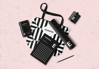 平面VI设计提案、包装盒、瓶子、纸袋智能贴图样机淡雅场景模板PSD素材5