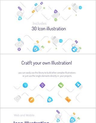 30个Adobe Illustrator创建的迷你插图包和单独元素库