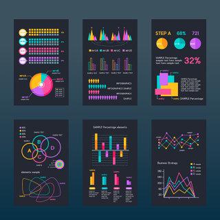 彩色互联网柱状图信息表分析素材可编辑文件