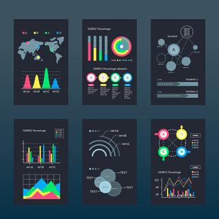 黑色彩色撞色商业报告图表柱状图分析ppt素材可编辑