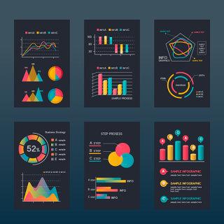 彩色数据统计信息图素材简约素材