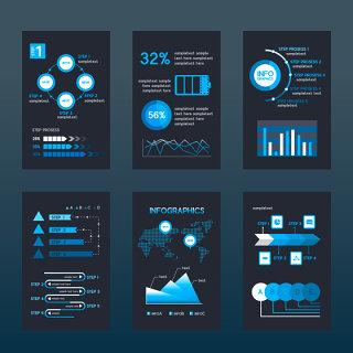 蓝色互联网商业报告信息图表素材可编辑