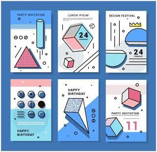 蓝色几何设计元素孟菲斯背景设计素材