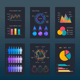 互联网数据分析图表柱状图饼状图素材可编辑文件