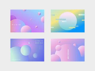 彩色渐变圆形渐变抽象艺术背景海报设计素材模板