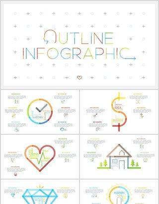 极限细线轮廓线创意彩色图标PPT信息图表元素素材可编辑Ultimate Thin Line