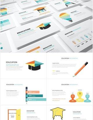 创意图形教育教学PPT信息图表素材Education Infographic Powerpoint  Template