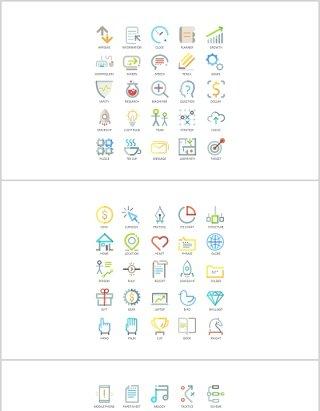创意彩色线性图标PPT素材元素可编辑Icons