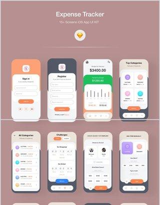 金融iOS应用UI KIT,费用追踪器iOS应用程序用户界面APP工具包
