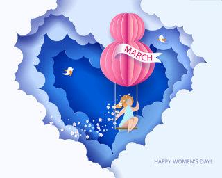 3.8女王节女神节妇女节插画创意海报背景图EPS矢量设计素材